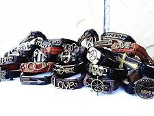 Brand New 24pcs mixed styles fashion leather alloy retro tribal cuff bracelets