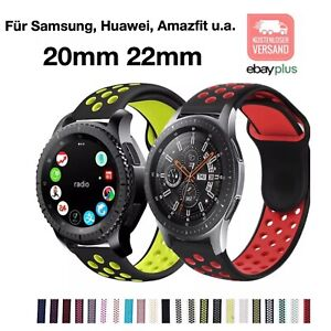 ✅ Für Samsung Huawei Amazfit Watch Armband 20mm 22mm Silikon Sportband gelocht ✅