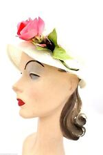 James Campbell VTG Ladies Hat White Lace w Pink Rose 1950s OS Garden Party