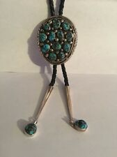 Large Sterling & Turquoise Bolo & Leather Straps & Silver Tips Signed  G.Gomez