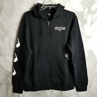 Volcom Men's Round Two Jacket Hoodie Size M Fleece Interior Front Zip Black