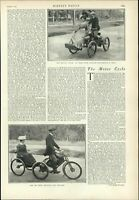 very early Motorcycle car tricycle rare 1899 vintage newsprint old sheet paper