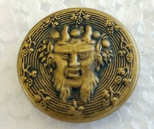 "RARE ""Man with horns on Head"" Antique Metal Button Estate Find, Victorian?"
