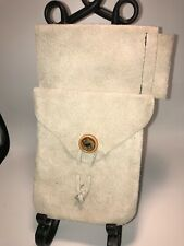 Hunting day bag genuine leather/suede   taupe handcrafted muzzleloading 10�x6�