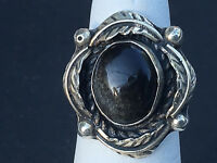 NATIVE AMERICAN STERLING SILVER & OBSIDIAN RING SIZE 6