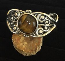 Sterling Silver Filigree Cuff Bracelet with 16.5 Carat Tiger Eye Gemstone