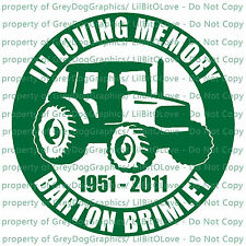 PERSONALIZED IN MEMORY VINYL DECAL FARMER TRACTOR FARM NAME DATES STICKER