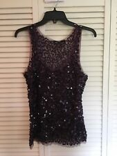 Vanity Women's Sequined Tank, size XL Purple  rayon