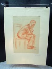 Man Sitting with Hand on Face Sketch Original Red Pencil 1950 by C. Schattauer K