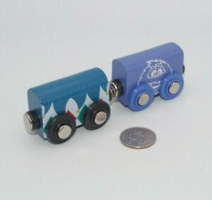 Wooden Railway Train Lot x2 Purple Monster Car works w BRIO, Thomas & Friends