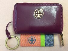 TORY BURCH 'Robinson' Raspberry Happiness Purple Leather Zip Coin Case Wallet