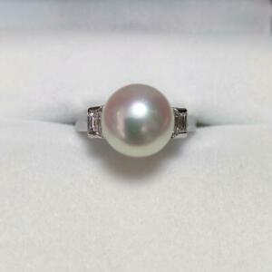 MIKIMOTO Auth Pt900 about 9mm Akoya Pearl & Diamond Ring Japanese 7 from Japan