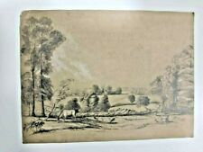 British school, 19th century charcoal and graphite drawing, rural scene, signed
