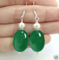 NATURAL 13x18mm OVAL GREEN JADE & 7-8mm WHITE PEARL DANGLE EARRING SILVER JE25