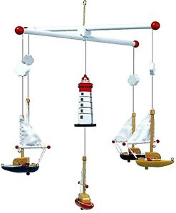 Nursery Mobile Sailboat Sailing Lighthouse Clouds Design