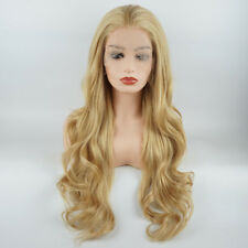 Meiyite Hair Wavy Long 26inch Blonde Mix Realistic Synthetic Lace Front Wigs