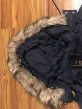 ABERCROMBIE & FITCH Navy Hooded Down Puffer Coat Fur Lined -Size Medium