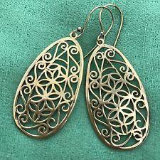 Earrings in Brass Floral Sacred Geometry Stencil
