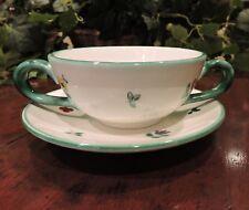Gmundner Keramik Austria Flat Cream Soup Bowl & Saucer Scattered Blooms Vintage