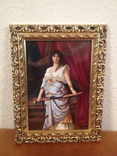 Antique German Likely KPM Painted Porcelain Plaque Judith After Nathaniel Sichel