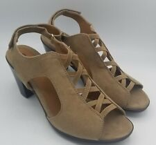 Women's Cloudwalkers Avenue Tan Suede Leather Open Toe Heel Shoe Size 9.5 W