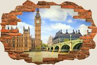 3D Hole in Wall Big Ben London View Wall Stickers Film Decal Wallpaper 396