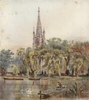 GREAT MARLOW CHURCH BUCKINGHAMSHIRE Small Victorian Watercolour Painting c1880