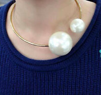 Double Big Pearl Rose Gold Collar Choker Statement  Attractive lady Necklace New
