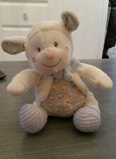 Doudou Nicotoy simba toys mouton blanc et bleu chaussons laine