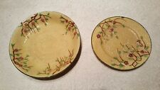 Hand painted Japan crackle glaze plate and bowl