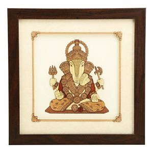 Lord Ganesh 2D & 3D View Painting Multi-Color Stick Wall Décor Art Work Handmade