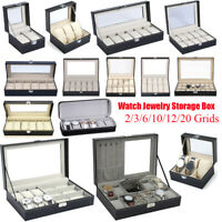 6-24 Grids Watch Jewelry Storage Box Organizer Holder Watches Display Showcase