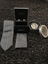 Luxury Mens Tie and Watch Gift Set - BLACK/SILVER