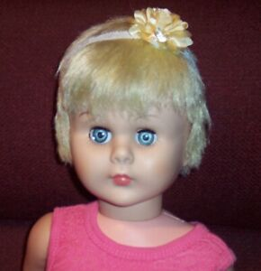 Vintage Old Blonde Blue Eyes UNMARGED Walker Doll Playpal Size New Shoes Dressed