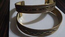 New Goldtone Brass Indian Adjustable Narrow Cuff Bracelet Jewellery UK Seller