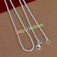 925 silver plated Filled Twisted Rope Classic 4mm Solid Charm Necklace Chain