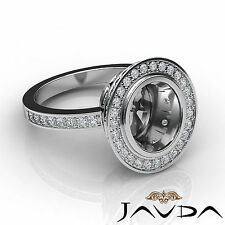 Diamond Engagement Ring Oval Shape Semi Mount Halo Pave 14k Gold White 1.25Ct