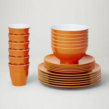 Barel Designs Classic Orange Melamine 48 Piece Dinner Set - Cups, Bowls, Plates