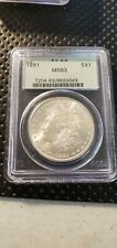 1891 P Blast White Morgan Silver Dollar PCGS Ms63 OGH Old Green Holder (Slab182)