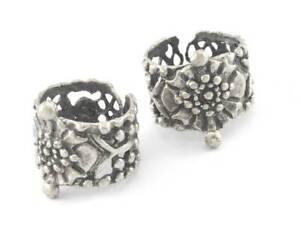 Signet Ring Flower Adjustable Antique Silver Plated Brass 4097