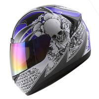 NEW 1STORM DOT MOTORCYCLE STREET BIKE FULL FACE HELMET BOOSTER SKULL BLUE HG335
