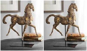 "TWO FARMHOUSE RESTORATION XXL 17"" HORSE STATUE SCULPTURE AGED FINISH UTTERMOST"