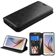 For Samsung Galaxy S6 Edge PU Leather Flip Wallet Case Cover Black Card Slot
