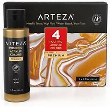 Arteza Acrylic Pouring Paint Set, 4 oz Bottles, Set of 4 Metallic Colors,