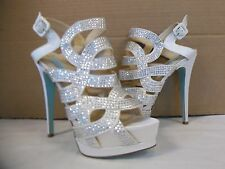 Blue Betsey Johnson Size 10 M Love Ivory Open Toe Heels New Womens Shoes NWOB