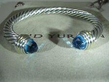 AUTHENTIC DAVID YURMAN SILVER 7MM CABLE CLASSIC BLUE TOPAZ 14K.Y.GOLD BRACELET