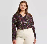 Women's Navy Floral Blouse Shirt Top 3X Long Sleeve Tunic - Ava & Viv Plus Size