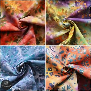 Batik Fabric, Hand Printed Autumn Floral Design,100% Premium Cotton, 110cm Wide