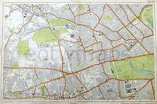 LONDON, 1924 - HAMMERSMITH, KENSINGTON & BAYSWATER, Original Old Map, Bacon.