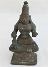 Antique South Indian Bronze Figure Seated Hindu Goddess Saraswati 19th Century